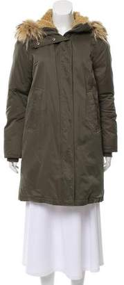Theory Fur-Trimmed Down Coat