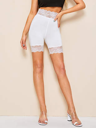 Shein Lace Trim Solid Biker Short Leggings