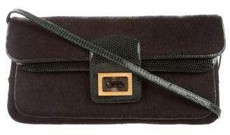 Kara Ross Lizard-Trimmed Ponyhair Bag