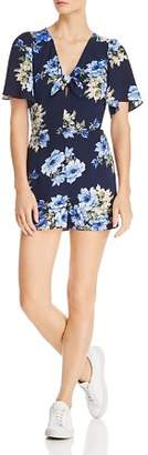 Aqua Floral Tie-Front Romper - 100% Exclusive