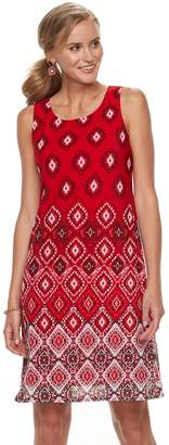 Dana Buchman Petite Printed Mesh Overlay Sheath Dress