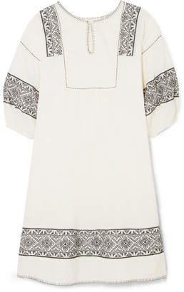 The Great The Lovely Embroidered Cotton-gauze Dress - Cream