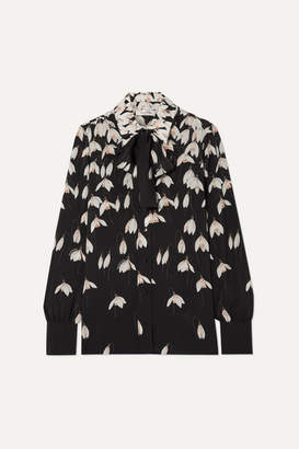 Valentino Pussy-bow Floral-print Silk Crepe De Chine Blouse - Black