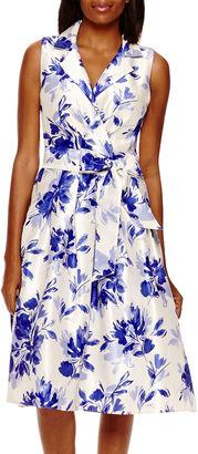 JESSICA HOWARD Jessica Howard Sleeveless Floral Shantung Shirtdress $34.39 thestylecure.com