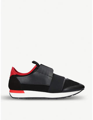 41f8614d3fb8a Balenciaga Mens Black and Red Striped Capsule Race Runners Leather and  Suede Sneakers