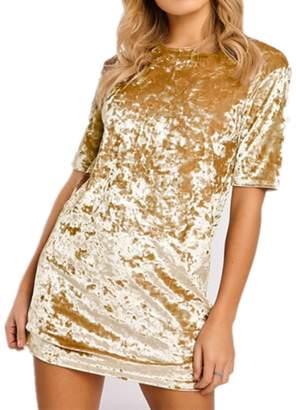 Menglihua Women Vintage Velvet Short Sleeve Crew Neck Casual T Shirt Mini Party Dress XL