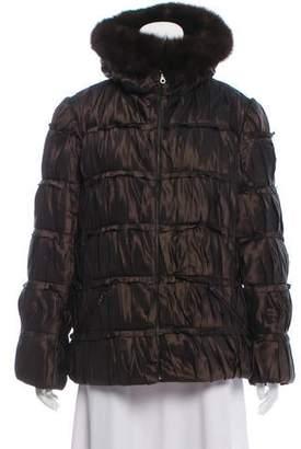 Oscar de la Renta Fur-Trimmed Silk Puffer Jacket