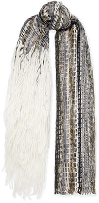 Missoni Fringed Wool-blend Scarf - Gray