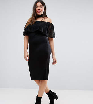 Asos Bardot Off Shoulder Dress With Lace Ruffle