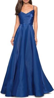 La Femme Pleated Wrap Bodice Evening Dress