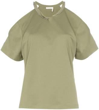 Chloé cotton cold shoulder chain T-shirt