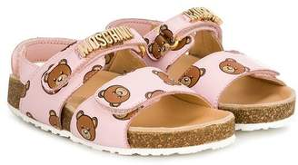 Moschino Kids teddy print open toe sandals