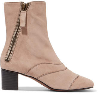 Chloé Lexie Crosta Paneled Suede Ankle Boots - Neutral