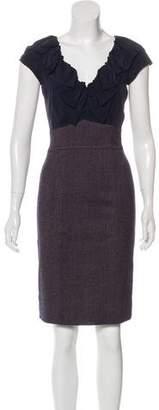 Rebecca Taylor Wool Silk-Paneled Dress