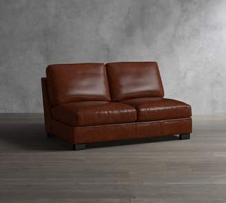 Pottery Barn Turner Leather Armless Love Seat