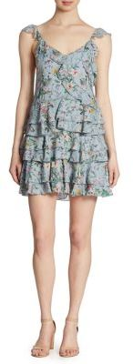 The Kooples Floral-Print Ruffled Silk Dress $575 thestylecure.com
