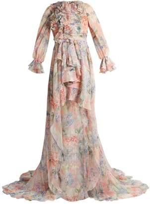 Gucci Hydrangea Print Silk Chiffon Gown - Womens - White Multi