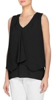 Joan Vass New York Drape V-Neck Blouse