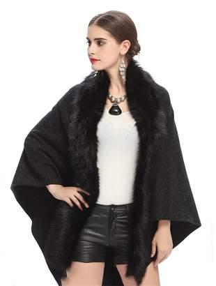 Pretydress Faux Fox Fur Double Layers Wrap Shawl Faux Fur Trim Cloak Cape Coat
