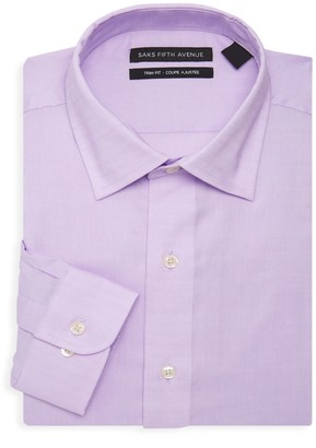 Saks Fifth Avenue Trim-Fit Solid-Color Dress Shirt