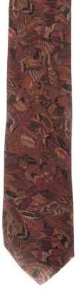 Salvatore Ferragamo Feather Print Silk Tie