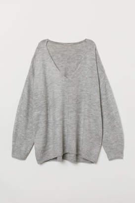 H&M H&M+ V-neck Sweater - Gray