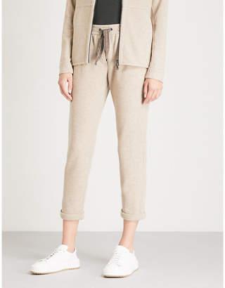 Brunello Cucinelli Bead-trim cashmere and cotton-blend trousers