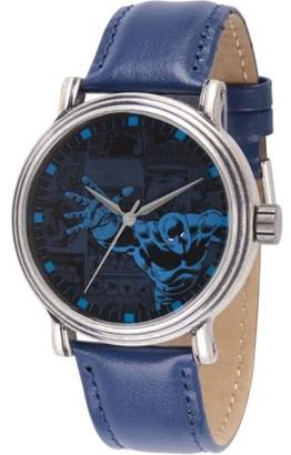 Marvel Comics Black Panther Men's' Antique Silver Alloy Vintage Watch, Blue Leather Strap