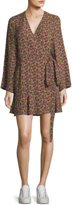 A.L.C. Whitney Bell-Sleeve Floral-Print Silk Wrap Dress