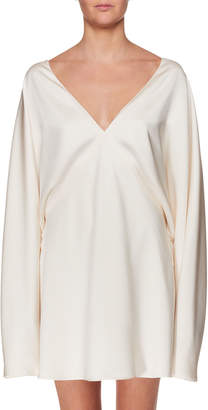 The Row V-Neck Long-Sleeve Silk Mini Dress