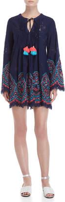 Hemant & Nandita Embroidered Long Sleeve Tassel Dress