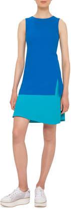Akris Punto Sleeveless Two-Tone Shift Dress, Turquoise