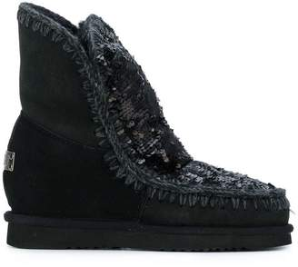 Mou sequin embroidered boots