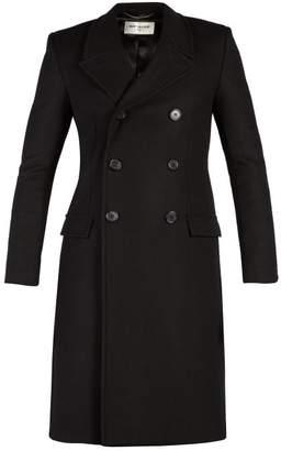Saint Laurent - Double Breasted Wool Coat - Mens - Black