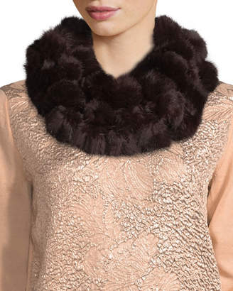 Adrienne Landau Rabbit Fur Pompom Neck Warmer, Wine