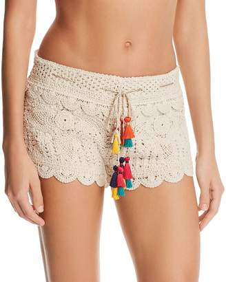 Surf.Gypsy Tassel-Detail Crochet Shorts