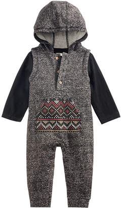 First Impressions 2-Pc. Top & Hooded Fair Isle Overall Set, Baby Boys, Created for Macy's