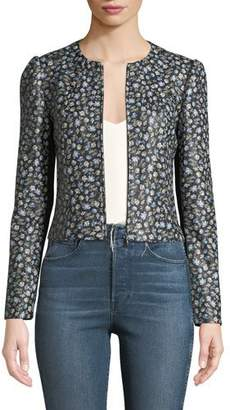 Rebecca Taylor Zelma Zip-Front Floral-Print Lamb Leather Jacket