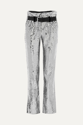 RtA Dillon Belted Sequined Satin Pants - Silver