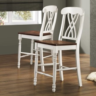 Weston Home Two Tone Counter Height Chair, Set of 2, Antique White & Warm Cherry