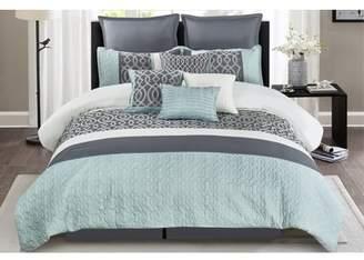Wonder Home Greyjoy 10PC Embellished Comforter Set, Queen, Grey