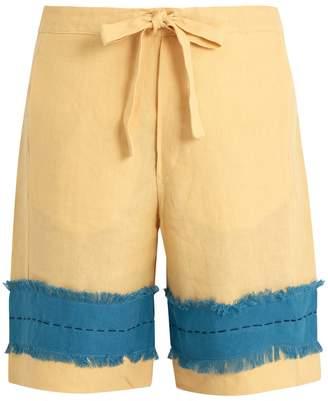 HECHO Frayed-panel drawstring-waist linen shorts