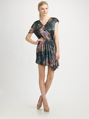 Abstract Feather-Print Dress