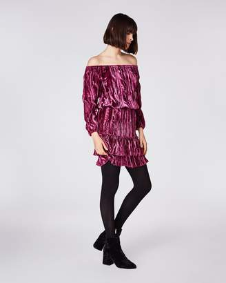 Nicole Miller Crinkled Velvet Smocked Dress