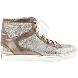Jimmy Choo Gold Leather Trainers