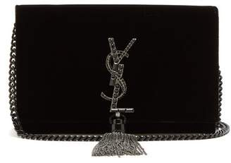 Saint Laurent - Kate Small Velvet Cross Body Bag - Womens - Black