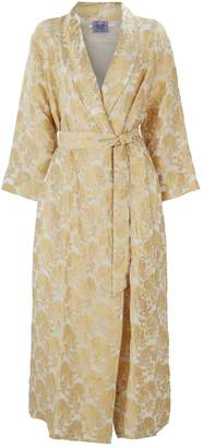 Thierry Colson Silk Brocade Embroidered Robe
