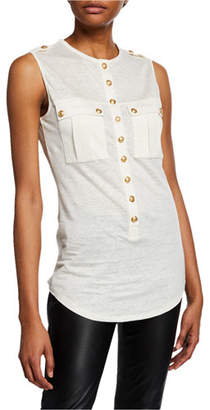 Balmain Sleeveless Tunisan-Linen Button-Front Top
