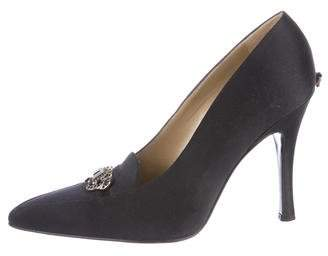 Gianni Versace Satin Pointed-Toe Pumps