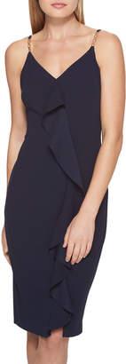 GUESS Ruffle-Front Scuba-Crepe Dress